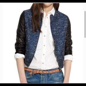 NWT Madewell Shimmerweave Bomber Leather Jacket